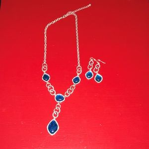 Jewelry - Silver & Blue Stone Necklace & Matching Earrings